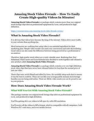 Amazing Stock Video Firesale review-(MEGA) $23,500 bonus of Amazing Stock Video Firesale