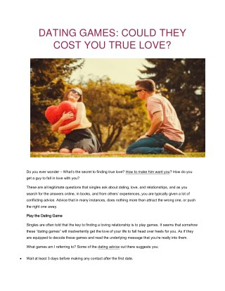 Dating Games: Could They Cost You True Love - Healthy You Healthy Love
