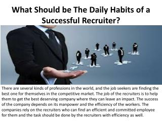 What Should be The Daily Habits of a Successful Recruiter?