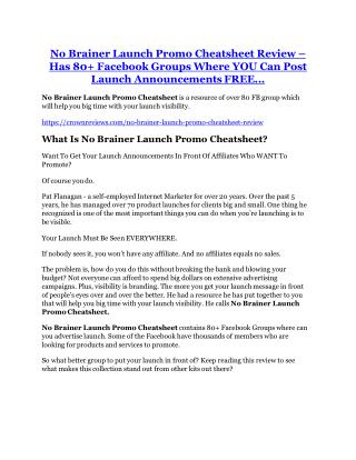 No Brainer Launch Promo Cheatsheet Review - $24,700 BONUS & DISCOUNT