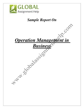 Sample On Operation Management in Business By Global Assignment Help