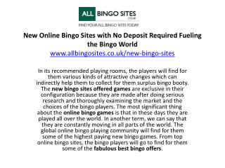 New Online Bingo Sites with No Deposit Required Fueling the Bingo World