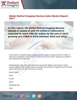 Retinal Imaging Devices Sales Market Size and Forecast to 2012 - 2022: Radiant Insights, Inc