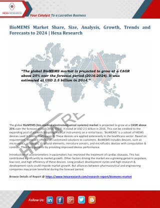 BioMEMS Market Research Report - Industry Analysis, Size and Forecast to 2024 - Hexa Research