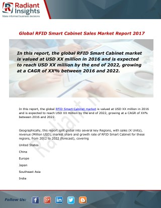 RFID Smart Cabinet Sales Market Size and Forecast to 2012 - 2022: Radiant Insights, Inc