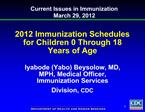 2012 Immunization Schedules for Children 0 Through 18 Years of Age