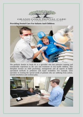 Providing Dental Care For Infants And Children