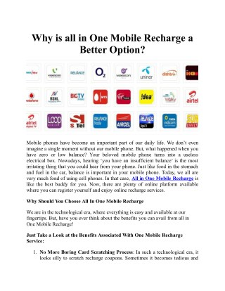 Why is All in One Mobile Recharge A Better Option?