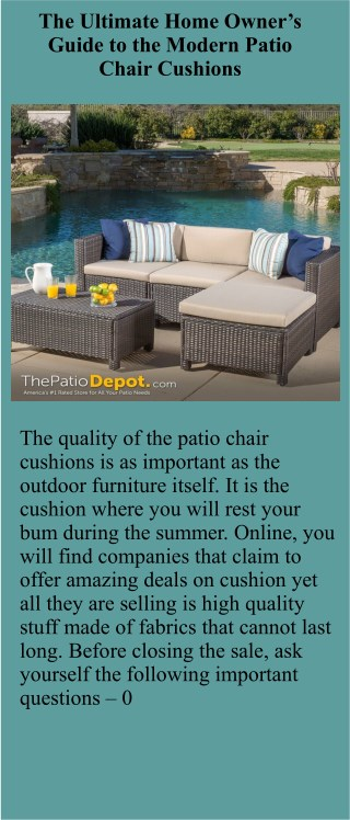 The Ultimate Home Owner's Guide to the Modern Patio Chair Cushions