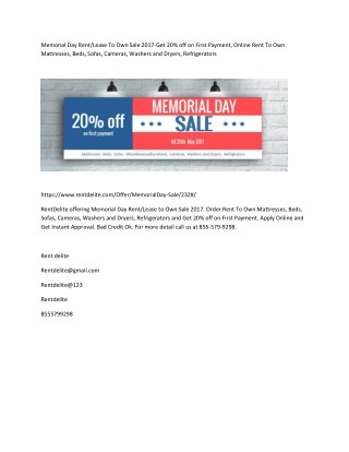 Memorial Day Rent/Lease To Own Sale 2017-Get 20% off on First Payment