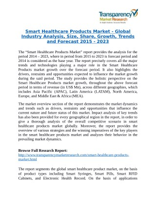 Smart Healthcare Products Market will rise to US$ 57.85 Billion by 2023