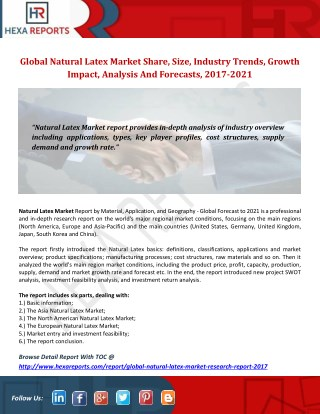 Global Natural Latex Market Share, Size, Industry Trends, Growth Impact, Analysis And Forecasts, 2017-2021