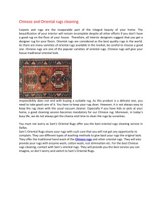 Chinese and Oriental rugs cleaning