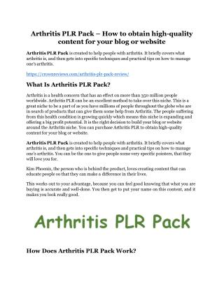 Arthritis PLR Pack review & massive  100 bonus items
