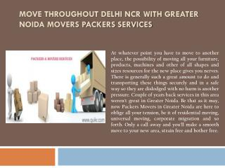 Move throughout Delhi NCR with Greater Noida Movers Packers Services