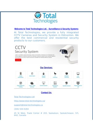 Security Systems in Regina & Calgary at Total Technologies