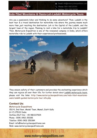 Motorbike Tours in Ladakh- A great way to Enjoy Vacation