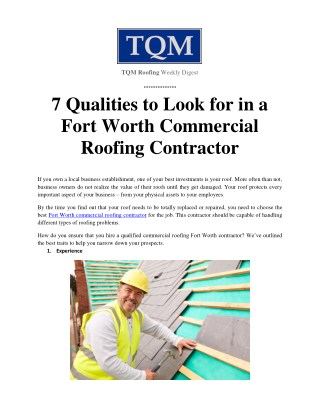 7 Qualities to Look for in a Fort Worth Commercial Roofing Contractor