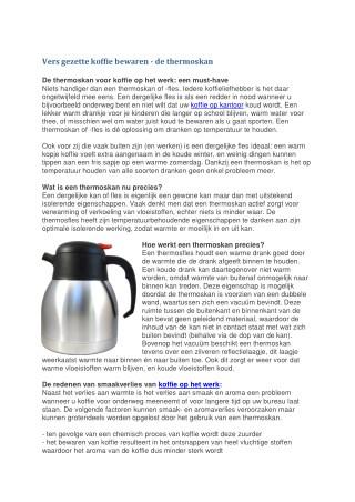 Vers gezette koffie bewaren - de thermoskan