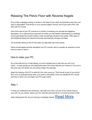 Relaxing The Pelvic Floor with Reverse Kegels