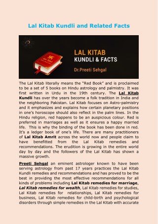 Lal Kitab Kundli and Related Facts