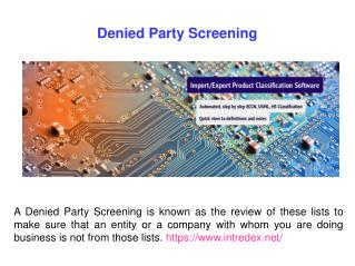 Restricted Party Screening