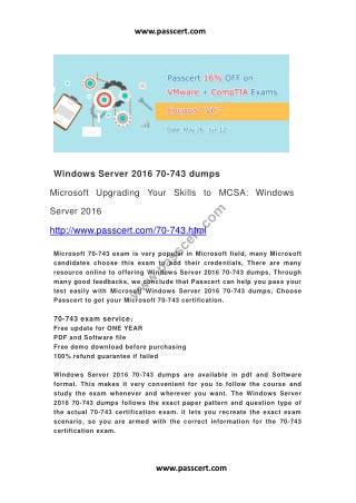 Windows Server 2016 70-743 dumps