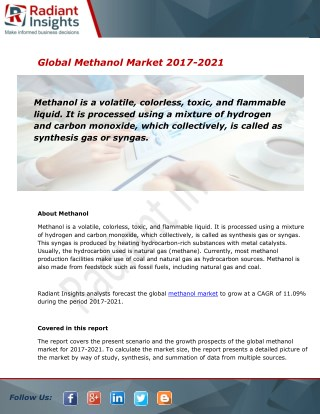 Global Methanol Market and Forecast Report to 2021:Radiant Insights, Inc