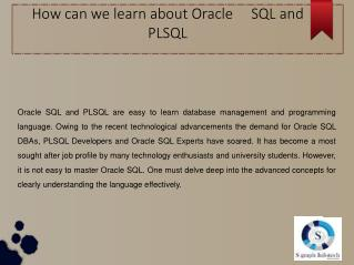 How can we learn about Oracle SQL and PLSQL