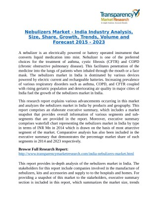Nebulizers Market is expanding at a CAGR of 25.80% from 2015 to 2023