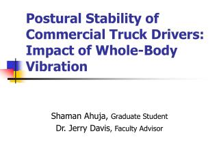 Postural Stability of Commercial Truck Drivers: Impact of Whole-Body Vibration