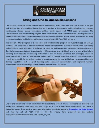 String and One-to-One Music Lessons