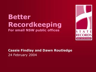 Better Recordkeeping