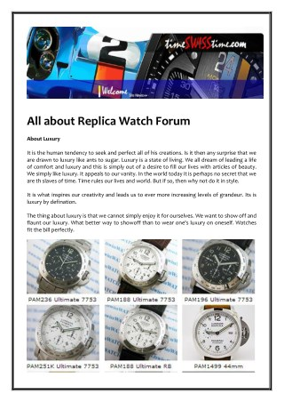 All about Replica Watch Forum