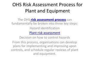 Risk Assessment Process for Plant and Equipment