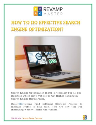 HOW TO DO EFFECTIVE SEARCH ENGINE OPTIMIZATION? Look at bit.ly/2qZvRUs