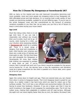 How Do I Choose My Swegways or hoverboards UK?