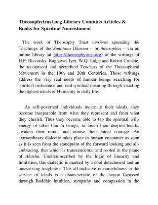 Theosophytrust.org Library Contains Articles & Books for Spiritual Nourishment