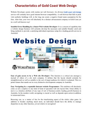Characteristics of Gold Coast Web Design