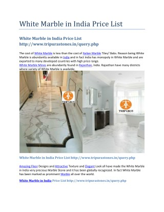 White Marble in India Price List