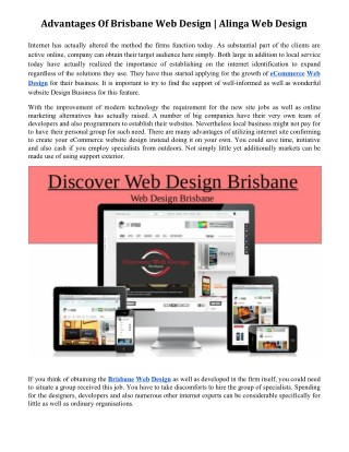 Advantages Of Brisbane Web Design | Alinga Web Design