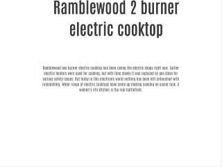 Ramblewood 2 burner electric cooktop