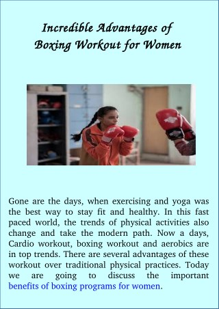 Incredible Advantages of Boxing Workout for Women