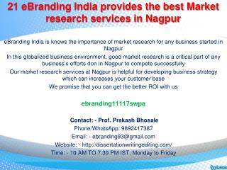 21 eBranding India provides the best Market research services in Nagpur