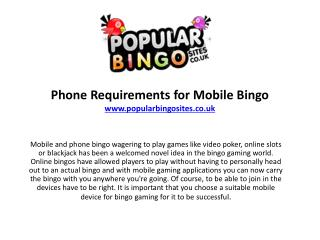 Phone Requirements for Mobile Bingo Gambling