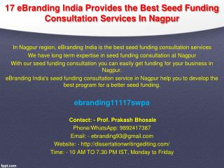 17 eBranding India Provides the Best Seed Funding Consultation Services In Nagpur