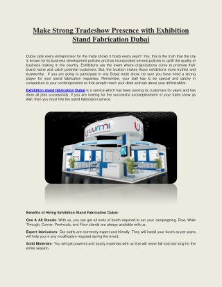 Make Strong Tradeshow Presence with Exhibition Stand Fabrication Dubai