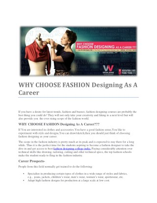 Why You Choose fashion Designing as a Career