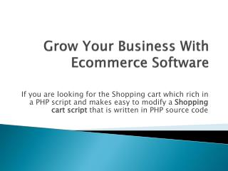Grow Your Business With Ecommerce Software