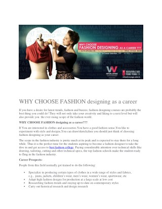 WHY CHOOSE FASHION designing as a career